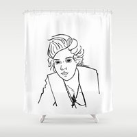 harry styles Shower Curtains featuring Harry Styles by Rosalia Mendoza