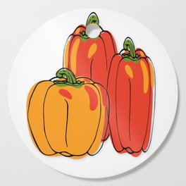 colorful bell peppers Cutting Board