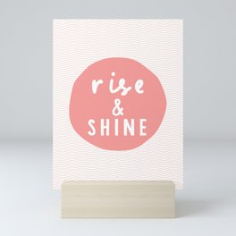 Rise and Shine inspirational quote typography wall art home decor in peach pink Mini Art Print