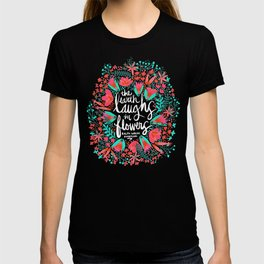 The Earth Laughs in Flowers – Pink & Charcoal T-shirt