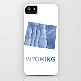 Wyoming map outline Blue watercolor iPhone Case
