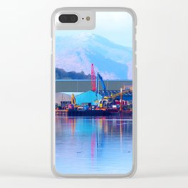 Industrial reflection at mountains edge Clear iPhone Case