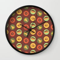 food Wall Clocks featuring Food by Elly Whiley