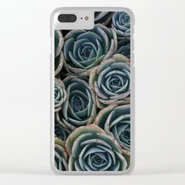 Teal Rosettes Clear iPhone Case