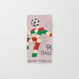 Vintage World Cup poster, Ciao, Italia 90 mascot, old football print Hand & Bath Towel