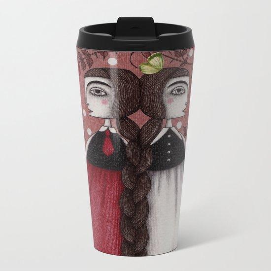 Snow-White and Rose-Red (1) Metal Travel Mug
