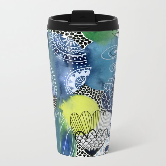Indigo Blooms Metal Travel Mug