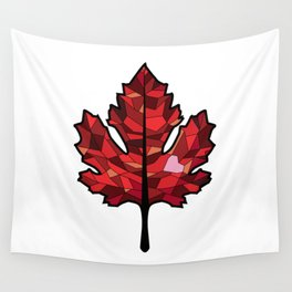 A Maple Leaf with Heart Wall Tapestry