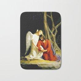 Carl Heinrich Bloch Angel With Jesus Christ Before Arrest in the Garden of Gethsemane Bath Mat
