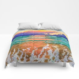 Sunset on the ocean Comforters