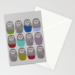 Bright Line Up of Owls Stationery Cards