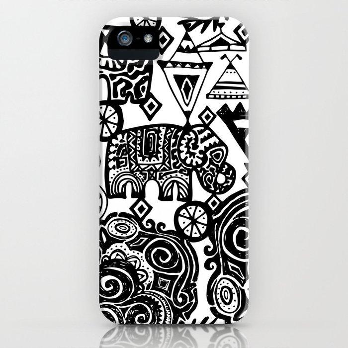 Beautiful boho pattern Indian Elephant with ornamental. Hand drawn ethnic tribal decorated Elephant iPhone Case