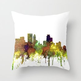 Minneapolis, Minnesota Skyline SG - Safari Buff Throw Pillow