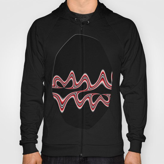 Fractal Line Art in Red, White and Black Hoody