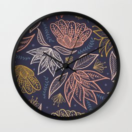 Bohemian Florals in Blue + Coral Wall Clock