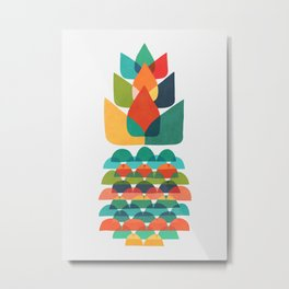Colorful Whimsical Ananas Metal Print