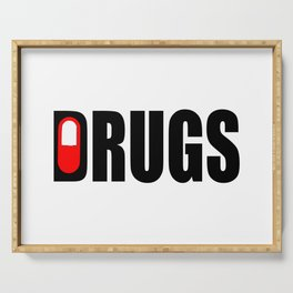 drugs funny logo Serving Tray