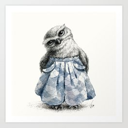 Owl With Wide Leg Trousers Art Print
