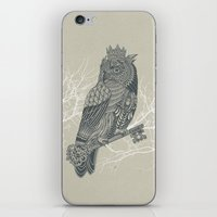 king iPhone & iPod Skins featuring Owl King by Rachel Caldwell
