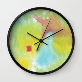 Green, Yellow, Red and Blue Tie Dye ink painting Wall Clock