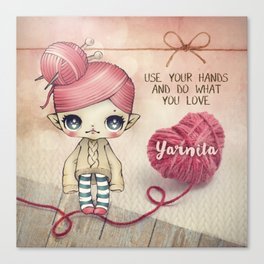 Yarnita - The Fairy who loves to knit Canvas Print