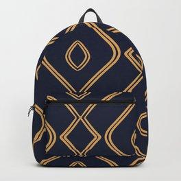 Modern Boho Ogee in Navy & Gold Backpack