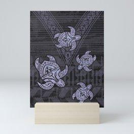 Fijian Dark Matter Tribal Turtle Abstract Mini Art Print