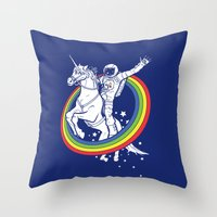 unicorn Throw Pillows featuring Epic Combo #23 by Jonah Makes Artstuff