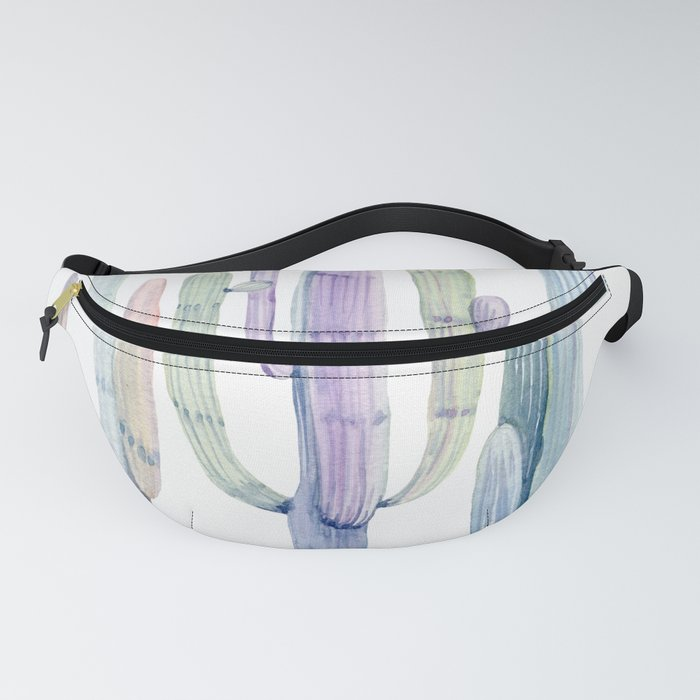 Minimalist Cactus Drawing Watercolor Painting Turquoise Cacti Fanny Pack