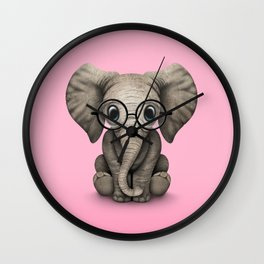 Cute Baby Elephant Calf with Reading Glasses on Pink Wall Clock