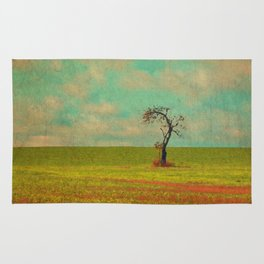 Lonesome Tree in Lime and Orange Field and Aqua and White Sky Rug