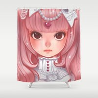 lolita Shower Curtains featuring Lolita in my heart by Coffeshere