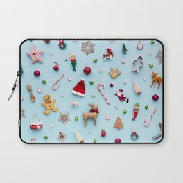 Collection of Christmas objects viewed from above Laptop Sleeve