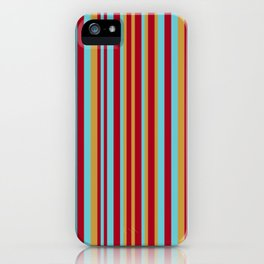 Golden, Red Wine and Turquoise Vintage Stripes iPhone Case