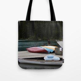 Moraine Lake kayaks Tote Bag