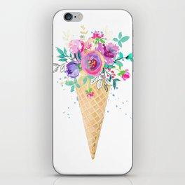 Flower bouquet ice cream cone iPhone Skin