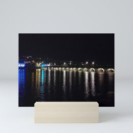 BIDEFORD MEDIEVAL LONG BRIDGE AT NIGHT DEVON Mini Art Print