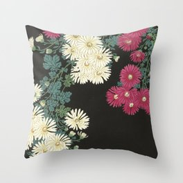 Chrysanthemums and Running Water Throw Pillow