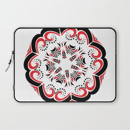 Floral Black and Red Round Ornament Laptop Sleeve