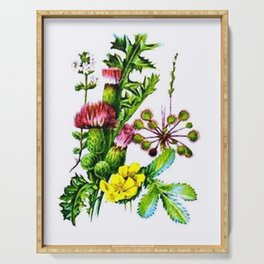 Vintage Wildflowers Thistle Serving Tray