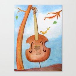 Bird and cello Canvas Print