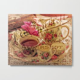Teacup and Roses 3 Metal Print