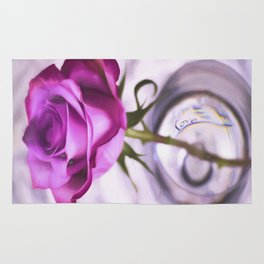 Pink Rose Love In A Glass Rug