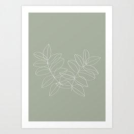 Boho Sage Green, Decor, Line Art, Botanical Leaves Art Print