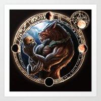 werewolf Art Prints featuring WEREWOLF by TheMagicWarrior