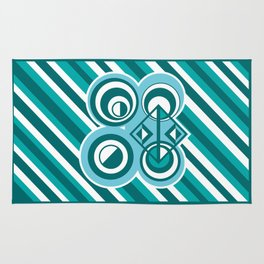 Striped Blue White and Teal Falling Eccentric Circles Abstract Art Rug