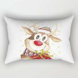 Funny Christmas Deer Red Nose Stars Rectangular Pillow