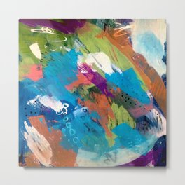 Emma - colorful acrylic and ink abstract pattern with blue, orange, purple and pink Metal Print