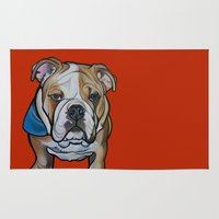 english bulldog Area & Throw Rugs featuring Johnny the English Bulldog by Pawblo Picasso