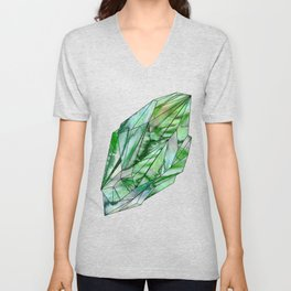 Crystal Emerald Green Gem 1 Unisex V-Neck
